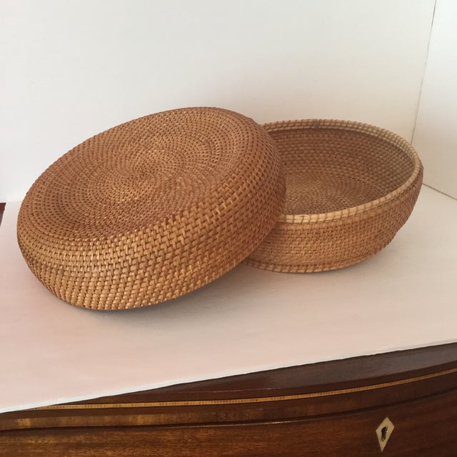 Woven Basket & Lid For Sale - Image 9 of 11