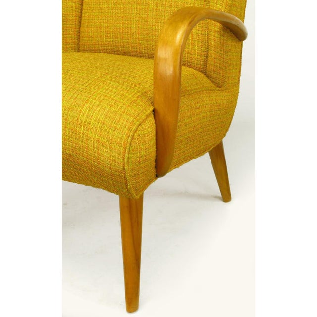 Yellow Circa 1940s Maple Wood & Saffron Upholstered Lounge Chair For Sale - Image 8 of 10