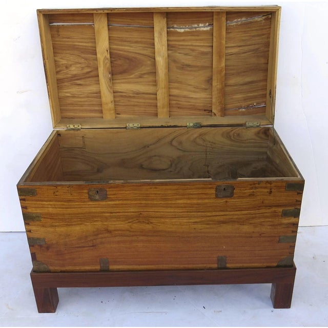 Early 19th Century Camphor Wood Campaign Chest on Stand For Sale - Image 4 of 9