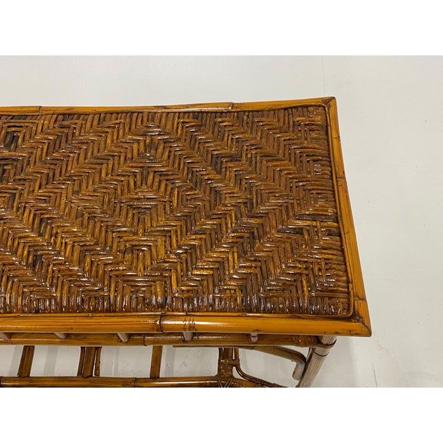 Handsome organic modern bamboo and rattan rectangular console table.