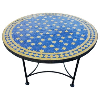 "Moroccan Blue / Yellow Mosaic Top Wrought Iron 32"" Table For Sale"