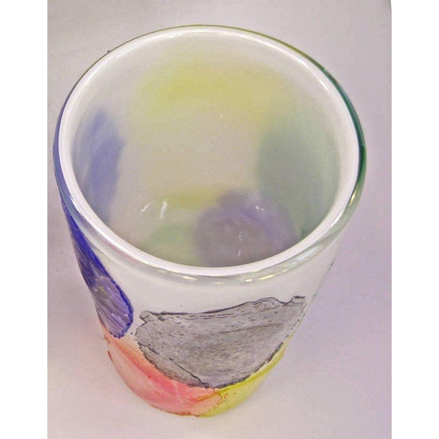 Italian Murano Glass Vase Decorated With Colorful Iridescent Disks For Sale - Image 3 of 6