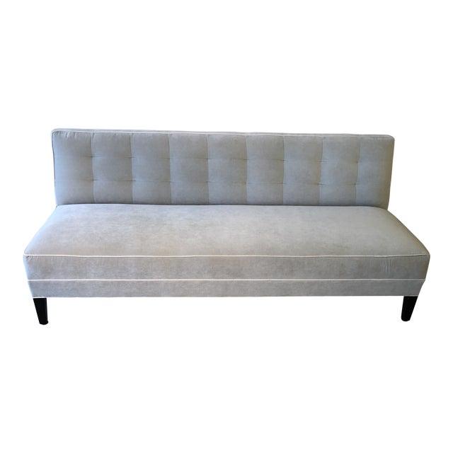 Mitchell Gold Bob Williams Modern Gray Velvet Sofa For Sale