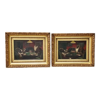 """Pair of Late 19th to Early 20th Century """"Dogs Playing Poker"""" Original Oil Painting For Sale"""