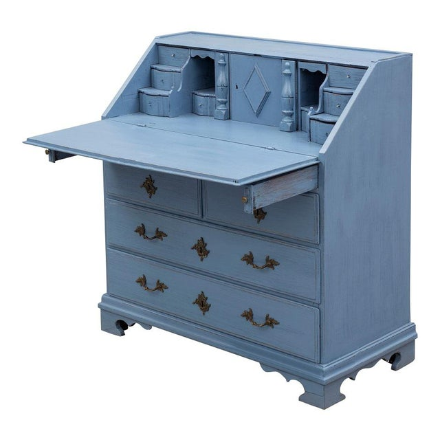 Swedish 19th Century Pale Blue Birch Secretary Desk For Sale - Image 10 of 10