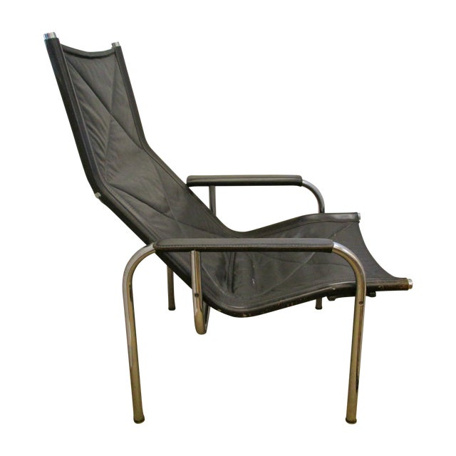 Black and Chrome Mid-Century Chair - Image 1 of 6
