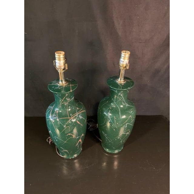 1990s Vintage 90's Splatter Paint Lamps - a Pair For Sale - Image 5 of 6