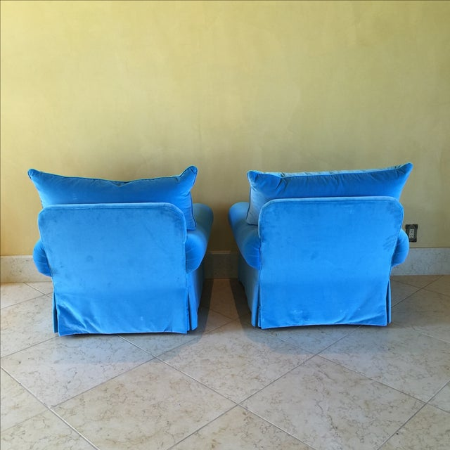 Venetian Blue Club Chairs - A Pair - Image 6 of 8