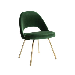 Original Vintage Saarinen Executive Armless Chairs Restored Emerald Velvet, Custom 24k Gold Edition For Sale