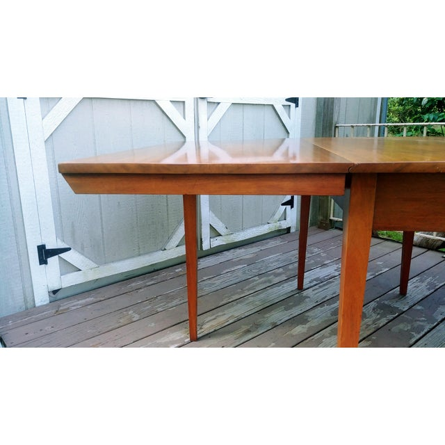 Vintage Mid-Century Modern Solid Pecan Shaker Style Drop Leaf Dining Table For Sale - Image 12 of 13