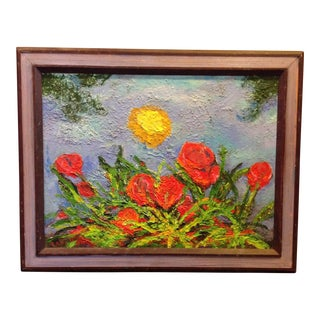 Vintage Signed Impressionist Sun & Roses Painting