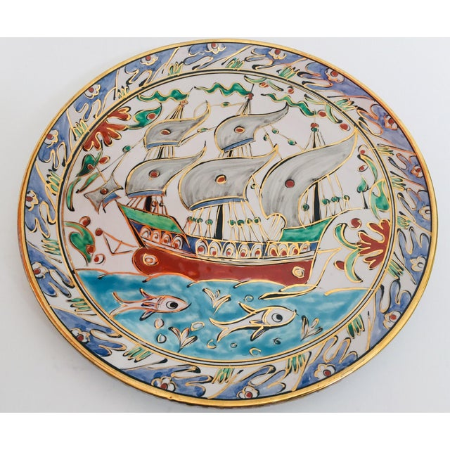 IKaros Hand Painted Carnations and Tulips Decorative Plate Rhodes, Greece For Sale - Image 4 of 12
