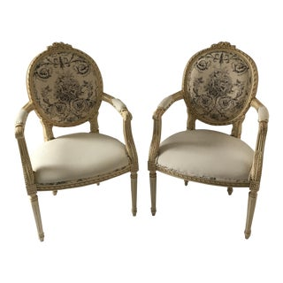 Vintage Louis XV Style Italian Hand Carved Chairs - A Pair