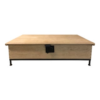 18th Century Restoration Hardware Oak Trunk Coffee Table For Sale
