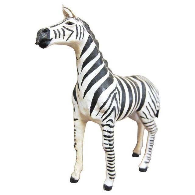 Mid-Century Leather Wrapped African Zebra Sculpture - Image 7 of 7