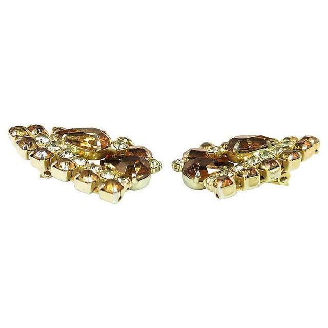 Topaz Crystal Chevron Earrings, 1950s For Sale - Image 4 of 7