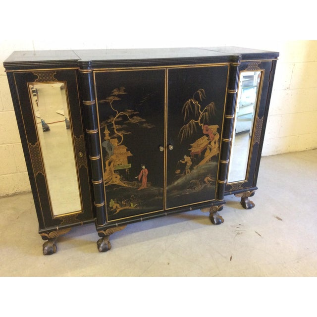 Vintage Chinoiserie-Style Flip Top Bar or Buffet - Image 2 of 9