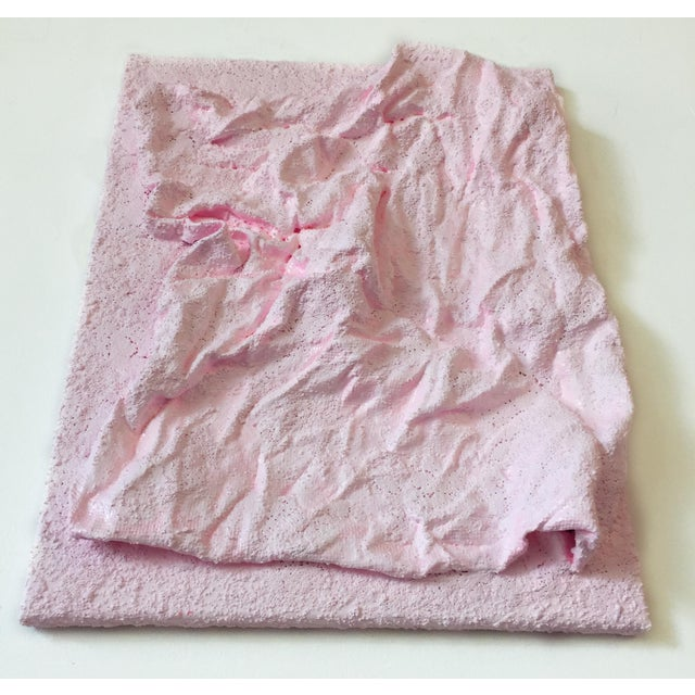 "Pink ""Delicate Pink Folds"" Mixed Media Wall Sculpture For Sale - Image 8 of 9"