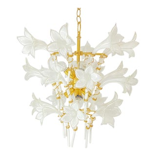 Vintage Murano Glass Calla Lily Chandelier For Sale