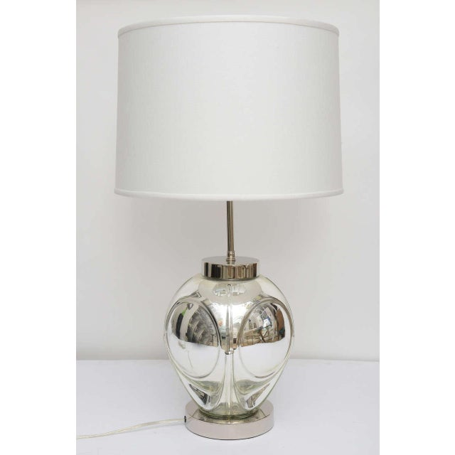 Mid-Century Modern Polished Chrome & Mercury Glass Table Lamp Base For Sale - Image 10 of 10