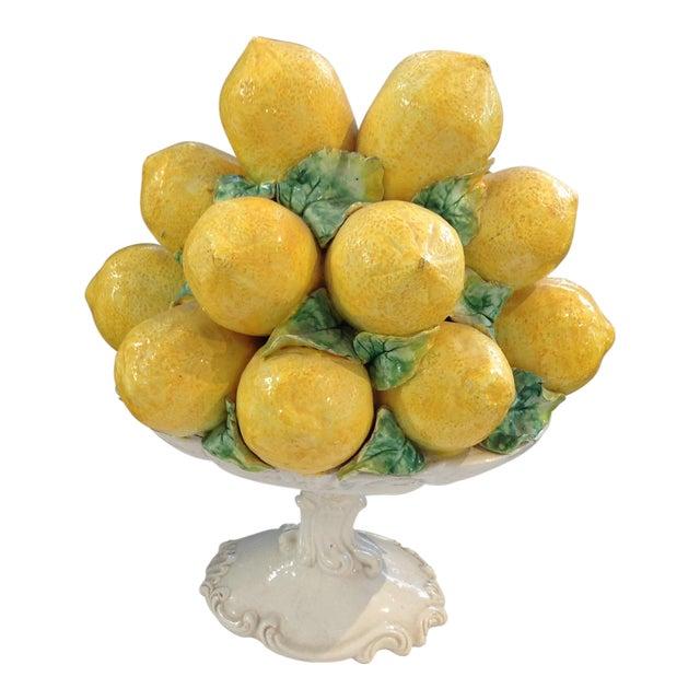 1950s Italian Yellow Faience Lemons Centerpiece - Image 1 of 5