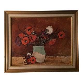 1940s Original Still Life Poppies in a Vase Oil Painting