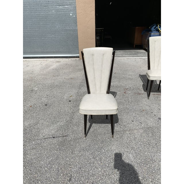 1940s Vintage French Art Deco Solid Mahogany Dining Chairs- Set of 6 For Sale - Image 10 of 12