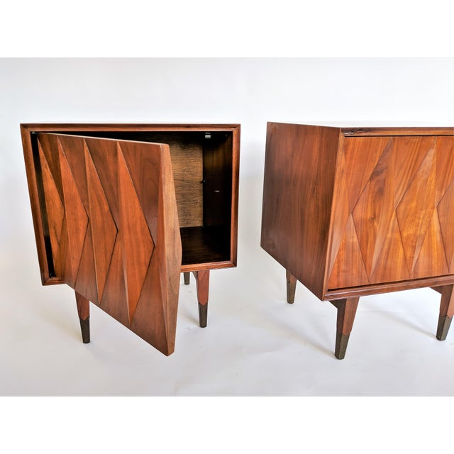 Designed by Albert Parvin. Interesting and unique geometric design of superior quality. Nightstands have been...