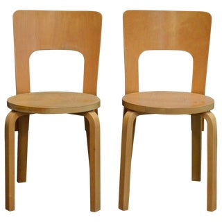 Pair of Vintage No. 66 Alvar Aalto Chairs for Artek For Sale