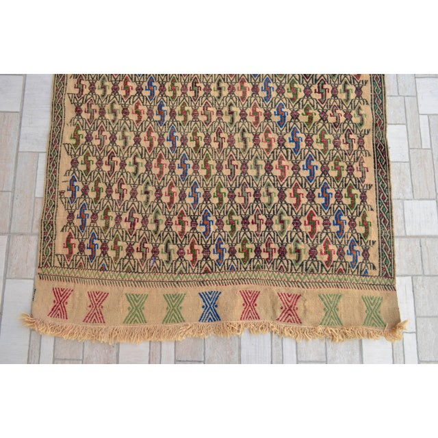 "Textile Vintage Braided Kilim Rug Turkish Hand Woven WoolRug Sofreh - 3' X 3'10"" For Sale - Image 7 of 9"