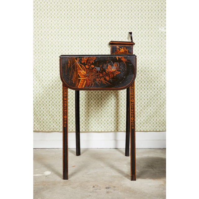 19th Century Regency Ebonized Chinoiserie Writing Table For Sale - Image 10 of 11