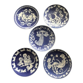 Antique Royal Copenhagen Blue & White Mothers Day Plates - Set of 5