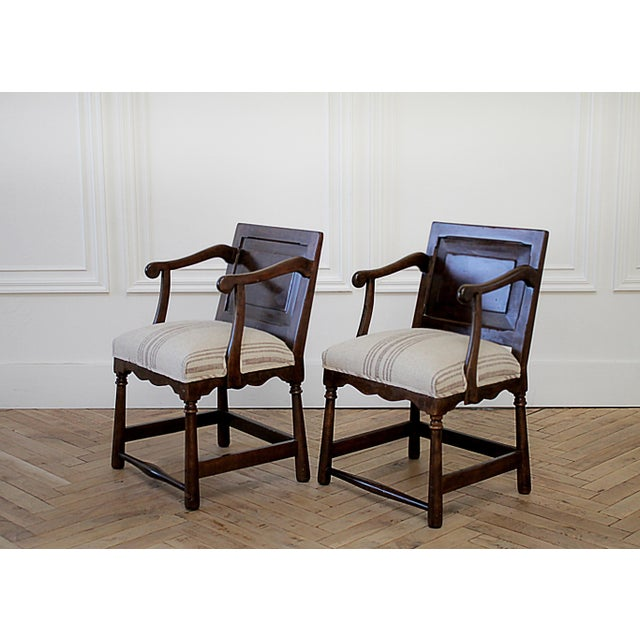 Shabby Chic Pair of Fruitwood Carved and Upholstered Arm Chairs For Sale - Image 3 of 13