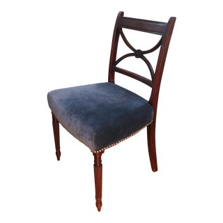 Antique Occasional Chair in Blue Velvet For Sale