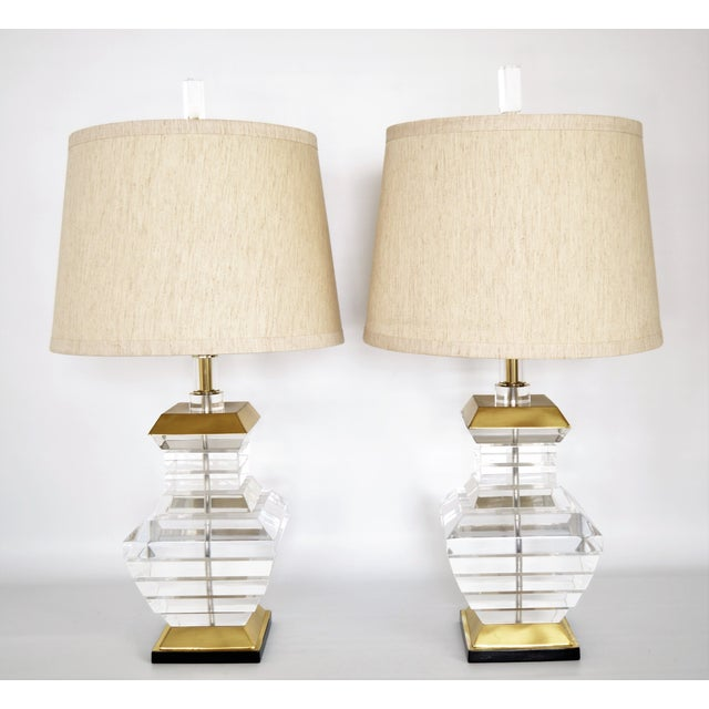 Karl Springer Charles Hollis Jones Style Mid-Century Modern Chunky Lucite & Brass Lamps MCM - a Pair - Image 11 of 11