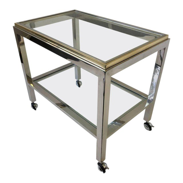 Chrome and Brass Bar Cart by Renato Zevi For Sale