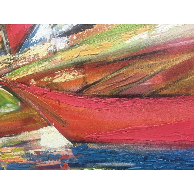 """Orange Huge Original Joseph Friedrich Modern Fauvism Expressionist Painting Sailboats in Port O/C - 40"""" X 50"""" For Sale - Image 8 of 13"""
