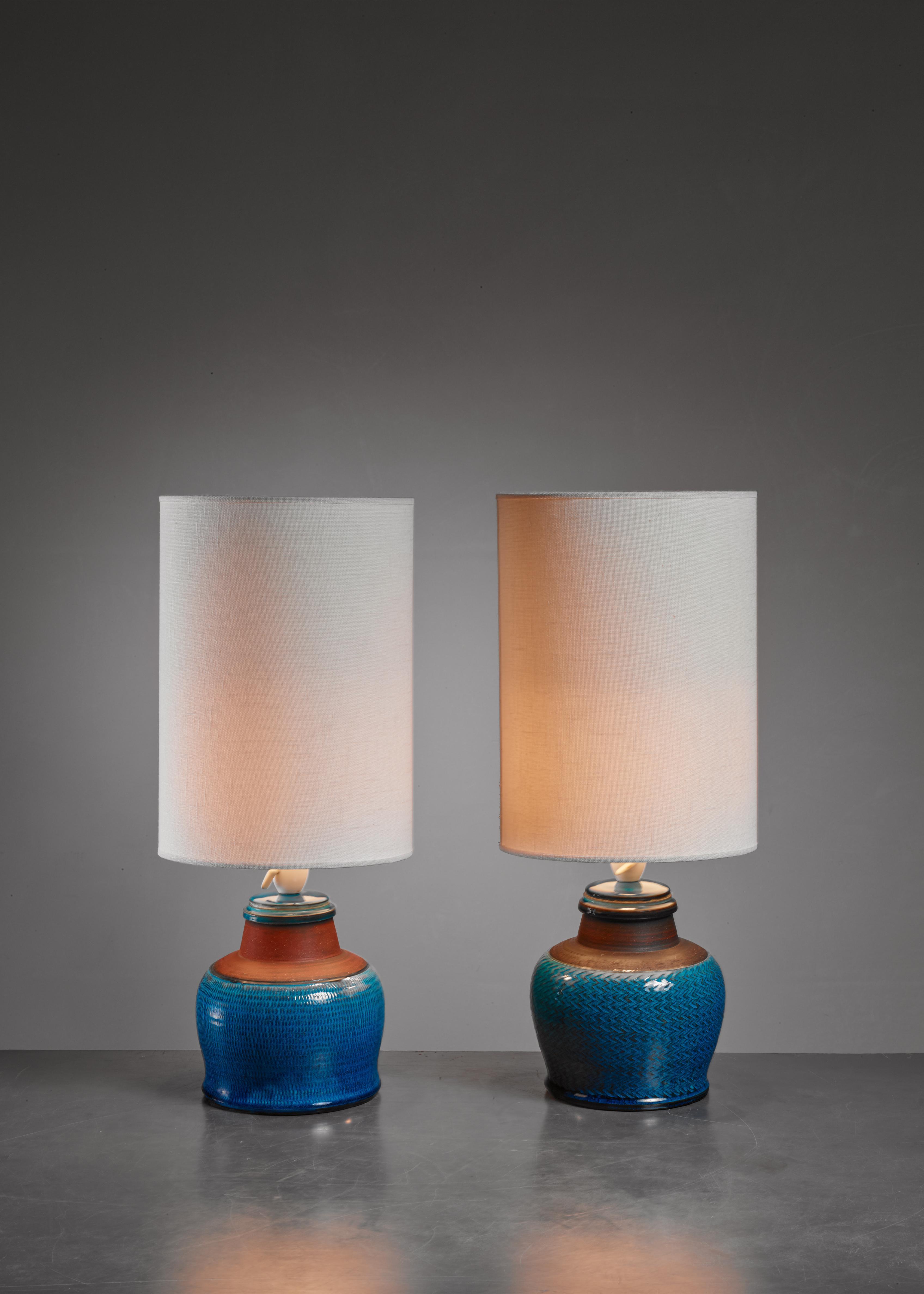 Superb Pair Of Kahler Ceramic Table Lamps Denmark 1960s Decaso