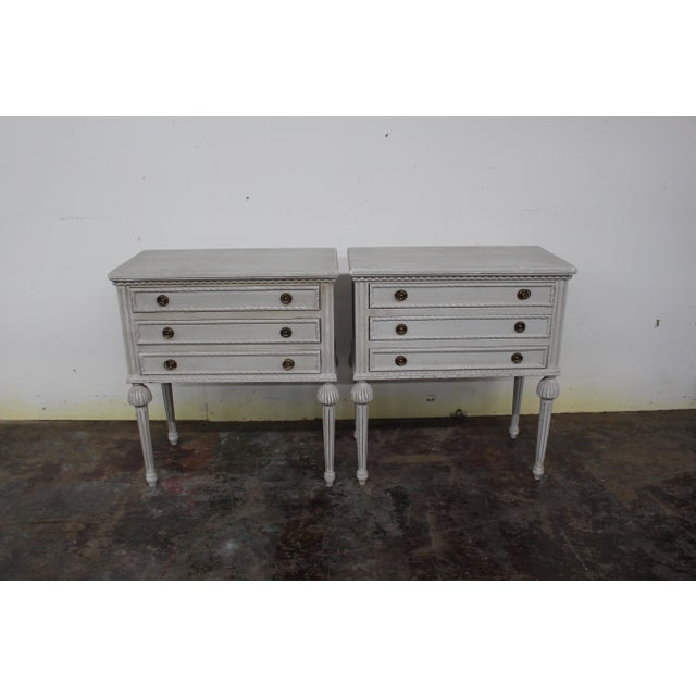 20th Century Swedish Gustavian Style Nightstands-A Pair For Sale - Image 4 of 8