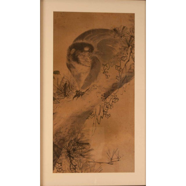 Circa 1820 Edo Period Japanese Ink on Paper Painting For Sale - Image 4 of 5