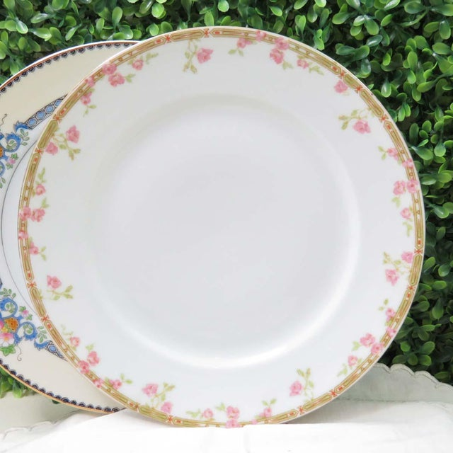 Limoges, France Vintage Mismatched Fine China Luncheon Plates - Set of 4 For Sale - Image 4 of 8