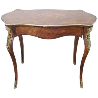 19th Century French Napoleon III Inlay Wood Golden Bronzes Desk or Writing Table For Sale