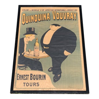 Antique 1901 Quinquina Vouvray French Lithograph Advertising Poster by Maurice Biais For Sale