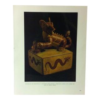 "Circa 1960 ""Rectangular Jar Surmounted by a Sculptured Dragon"" Treasures of Ancient America Mounted Print For Sale"