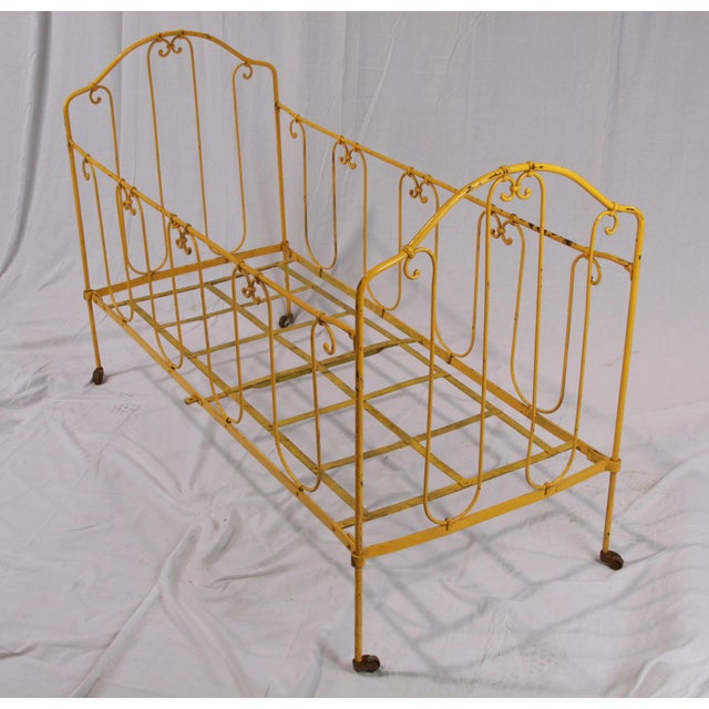 Metal Vintage French Yellow Daybed For Sale - Image 7 of 8