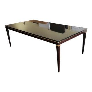 Jose Leite De Castro Macassar Ebony, Black Lacquer & Brass Dining Table For Sale
