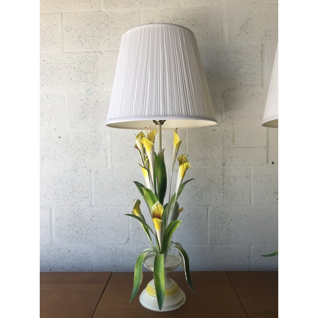 Italian 1970 Italian Tole Table Lamps - a Pair For Sale - Image 3 of 13