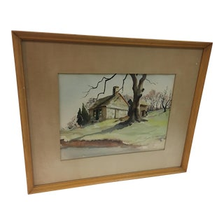 Circa 1950 Farm Landscape Watercolor For Sale
