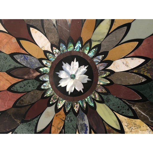 Early 20th Century Art Deco Cast Iron Base Table With Pietra Dura Specimen Top For Sale - Image 5 of 12