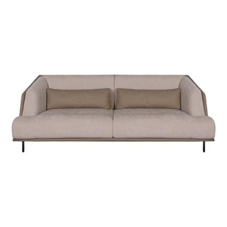 Clayton 3-Seater Fabric & Leather Upholstered Sofa For Sale